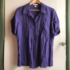 COLDWATER CREEK Purple Short Sleeve Button Down